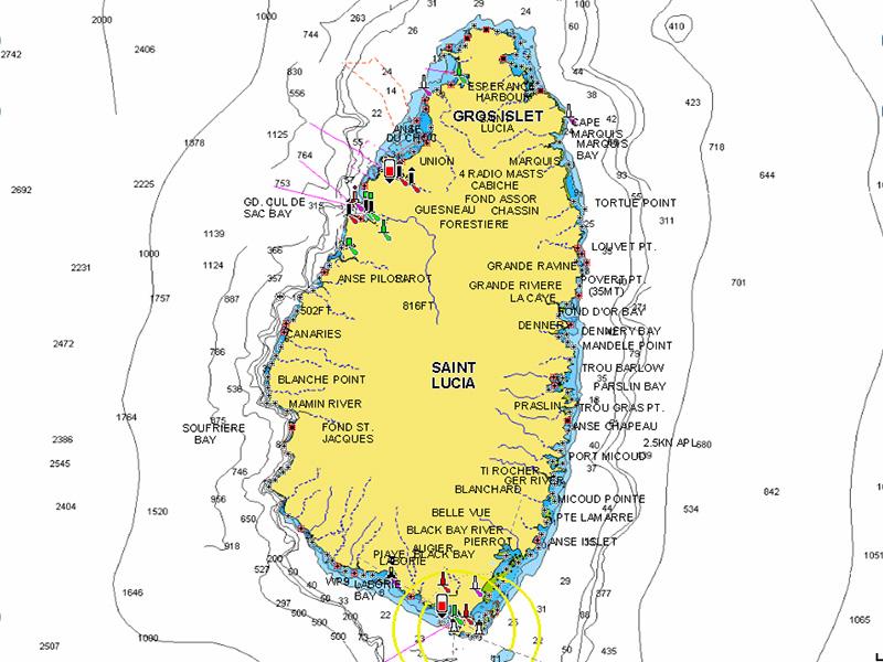 Carte Saint Lucia - Voilier Solal charter Antilles Caraïbes